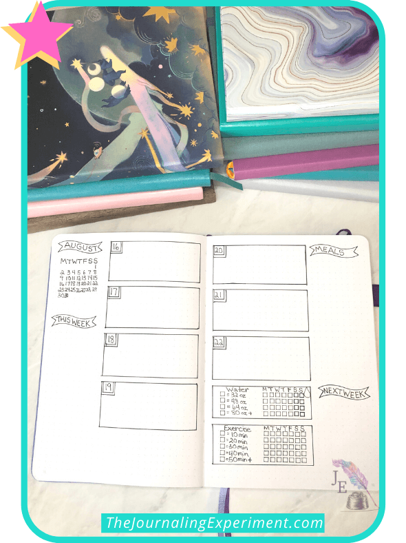 open bullet journal with weekly spread