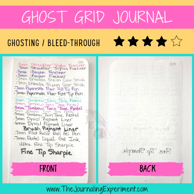 ghost grid journal dotted bullet journal pages with handwriting in different pen types